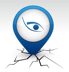 Eye blue icon in crack vector