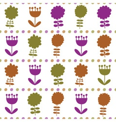 Seamless pattern with different flowers vector