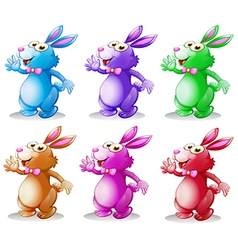 Six colorful bunnies vector