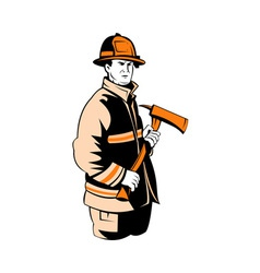 Fireman fire fighter holding an ax vector