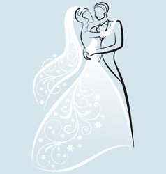 Bride and bridegroom wedding couple vector