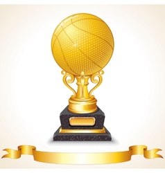Golden basketball cup vector