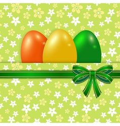 Easter card template with bow green vector