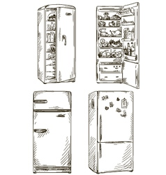 Set of four hand drawn fridges vector