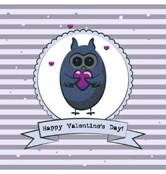 Valentines day greeting card with owls vector