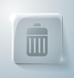 Glass square icon basket garbage vector