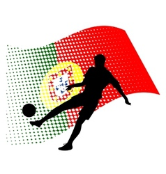 Portugal soccer player against national flag vector