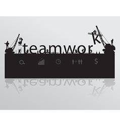 Construction site crane building teamwork text vector
