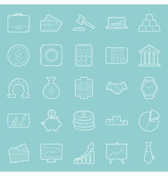 Bisiness and finance thin lines icons set vector
