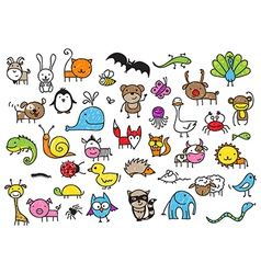Kids drawing animal doodles vector