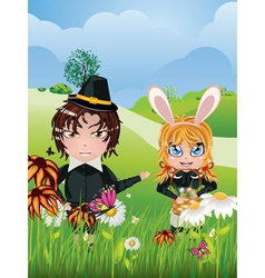 Easter boy and girl vector