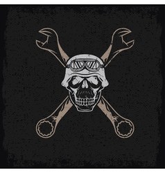 Biker theme grunge label with skull and wrenches vector