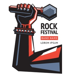 Rock poster with a microphone vector