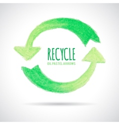Recycle icon hand drawn with oil pastel crayon vector