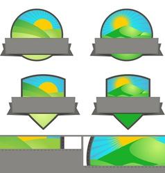 Farming landscape emblem banners set vector