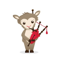 Musical animals sheep bagpipes vector