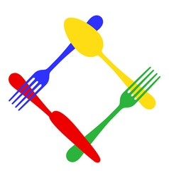 Colorful cutlery frame vector