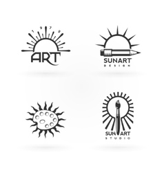 Four emblems of art and sun combination vector
