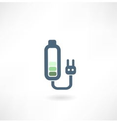 Battery with a plug from the outlet icon vector