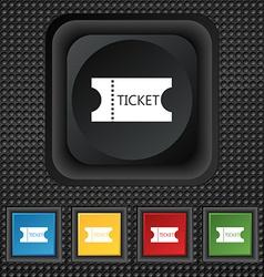 Ticket icon sign symbol squared colourful buttons vector