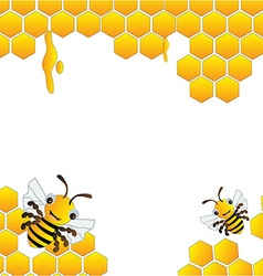 Happy bees frame background vector