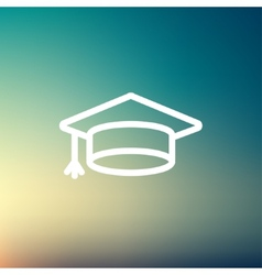 Graduation cap thin line icon vector
