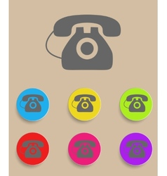 Old phone icons with color variations vector