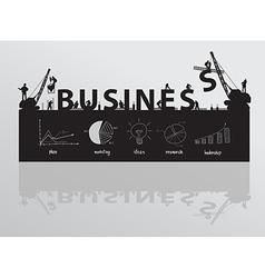 Construction site crane building business text vector