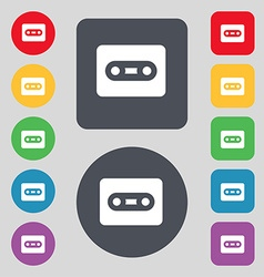 Cassette icon sign a set of 12 colored buttons vector