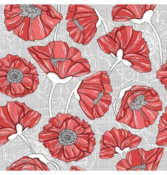 Seamless floral poppy pattern vector