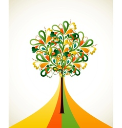 Painting abstract tree on colorful strips vector