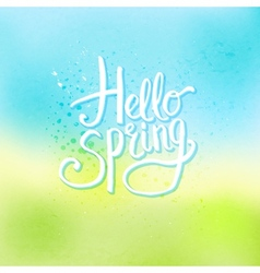 Hello spring concept on abstract cool background vector