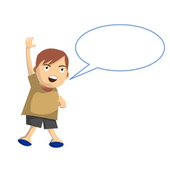 Cartoon boy jumps while speak with speech balloon vector