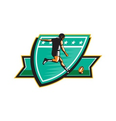 Rugby player kicking ball shield retro vector
