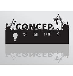 Construction site crane building concept text vector