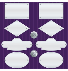 Silver nameplate set vector