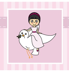 Girl flying with a dove vector