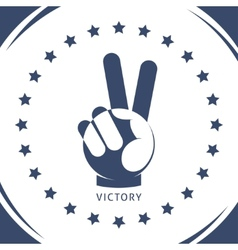 Geometric hand gesture of victory vector