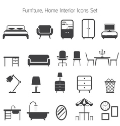 Furniture mono icons set vector