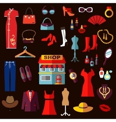 Shopping fashion and beauty flat icons vector