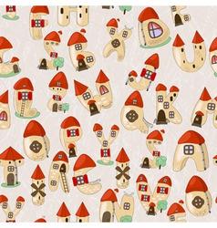 Seamless cartoon latin alphabet consists of houses vector
