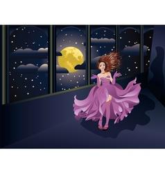Girl in purple dress on balcony2 vector