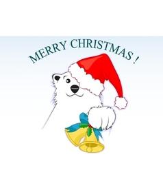 Polar bear with a red santa claus cap vector