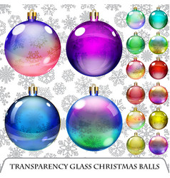 Set of transparent christmas balls vector