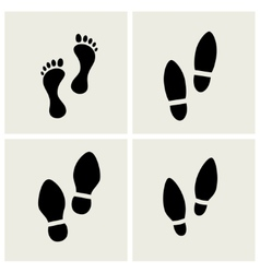 Traces of feet and shoes vector