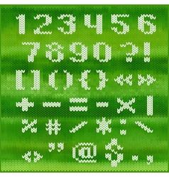 Knitted alphabet white bold sans serif vector