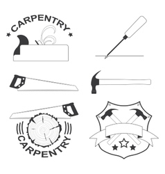 Set of carpentry tools and logos vector