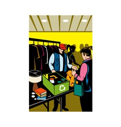 Female shopper shopping at indoor flea market vector
