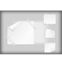 White stickers with scotch tape vector