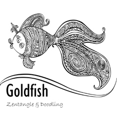 Goldfish and patterned tail in black and white vector